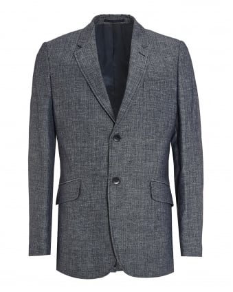 Mens Clarance Jacket, Navy Blue Herringbone Blazer