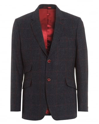 Mens Herringbone Red Overcheck Dark Blue Jacket
