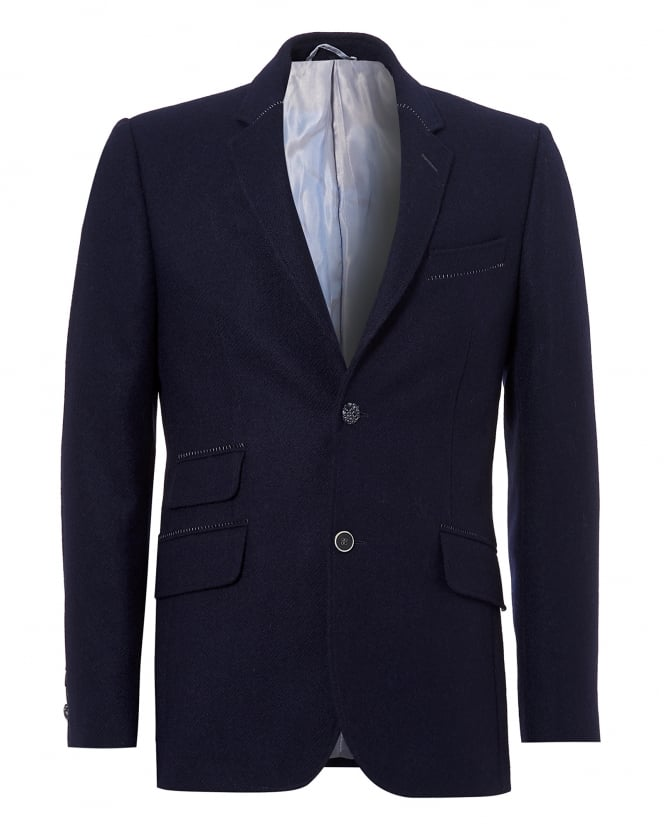 Holland Esquire Mens Reginald Jacket, Plain Shetland Wool Navy Blazer