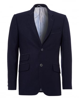 Mens Reginald Jacket, Plain Shetland Wool Navy Blazer