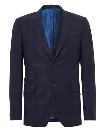 Mens Reginald Jacket, Windowpane Check Pattern Navy Blazer
