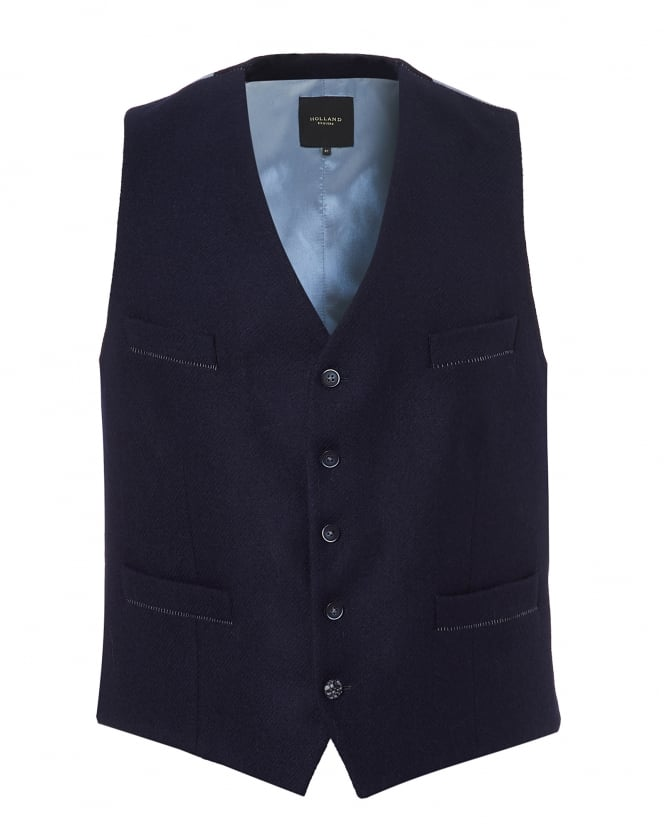 Holland Esquire Mens Slim Fit Silver Back Navy Waistcoat