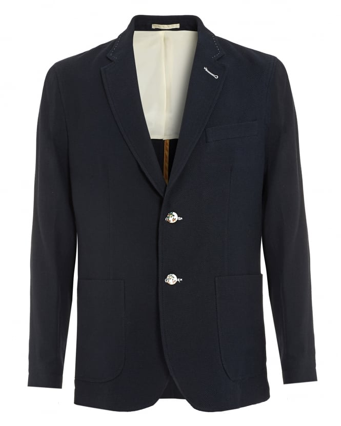 Holland Esquire Mens Waffle Jacket, Navy Blue Blazer