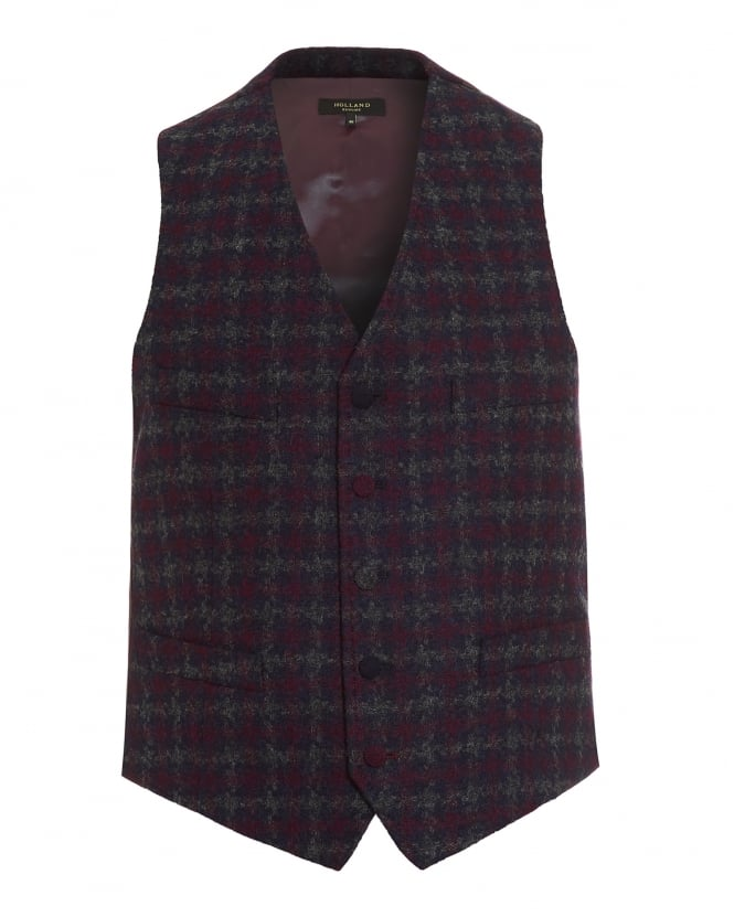 Holland Esquire Mens Waistcoat, Houndstooth Welsh Blanket Navy Blue Waistcoat