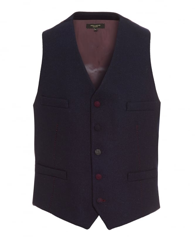 Holland Esquire Mens Waistcoat, Red Stitch Navy Blue Waistcoat