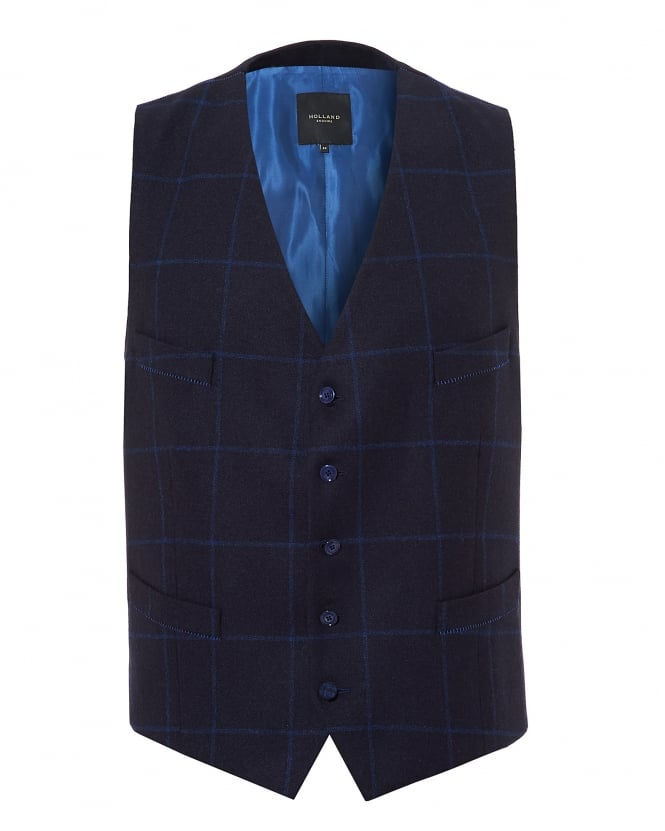 Holland Esquire Mens Windowpane Check Pattern Navy Waistcoat
