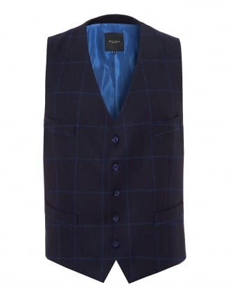 Mens Windowpane Check Pattern Navy Waistcoat