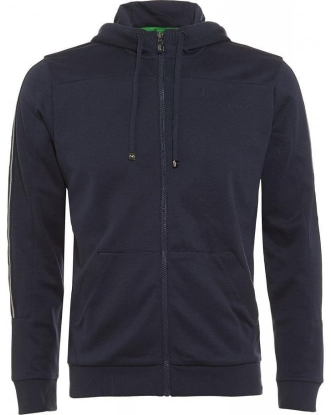 Hugo Boss Green Hooded Sweatshirt, Navy Saggy Zipped Hoodie
