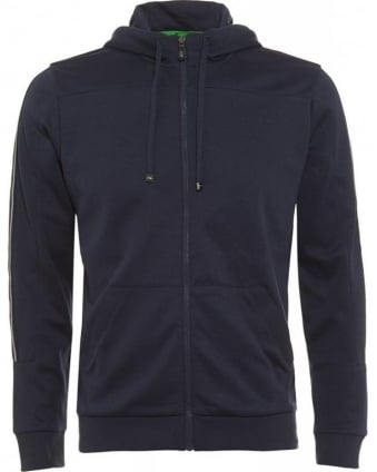 Hooded Sweatshirt, Navy Saggy Zipped Hoodie