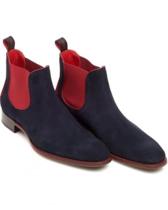 Horror Show Libertine Mens Navy Suede Rioja Red Chelsea Boot