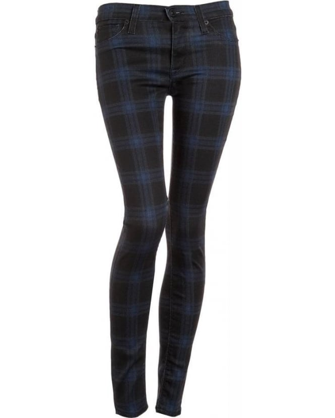 Hudson Jeans Cadet Punk Black & Blue Plaid 'Nico' Super Skinny Jean