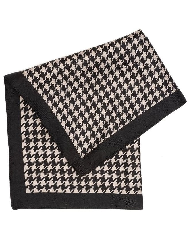 Hugo Boss Black Accessories, Black And Beige Dogtooth Silk Pocket Square