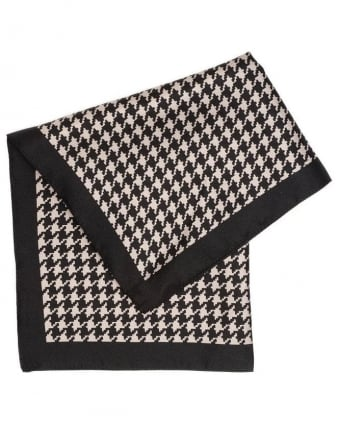 Accessories, Black And Beige Dogtooth Silk Pocket Square