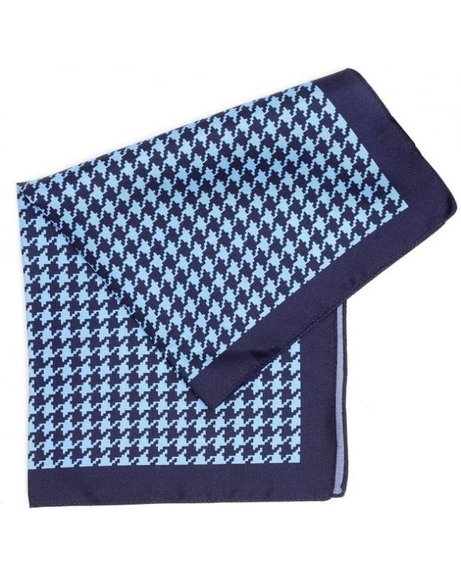 Hugo Boss Black Accessories, Blue And Sky Dogtooth Silk Pocket Square