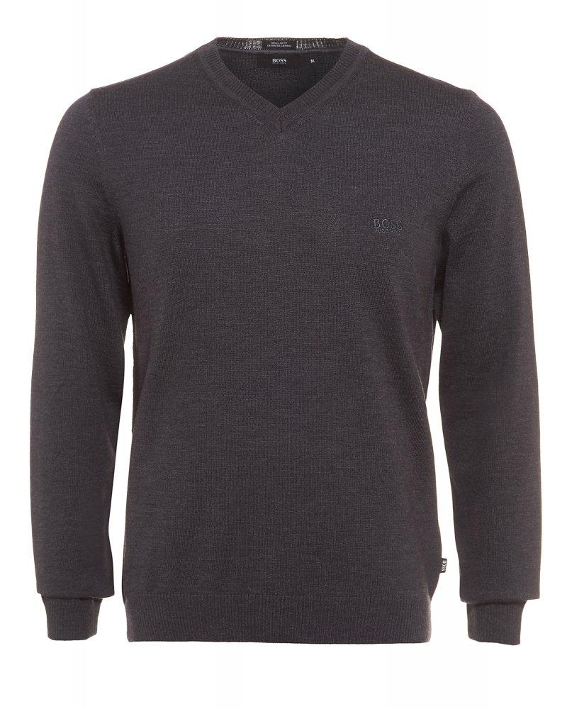 Batisse-E Sweater Charcoal Grey V-Neck Jumper