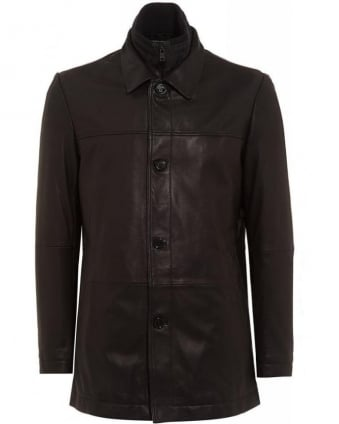 Black Armon Leather Jacket with Detachable Insert