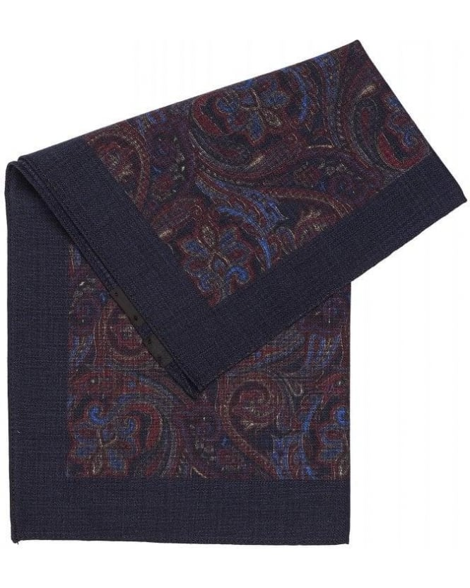 Hugo Boss Black Classic Blue Paisley Wool Pocket Square