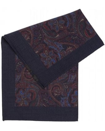 Classic Blue Paisley Wool Pocket Square