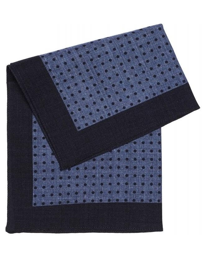 Hugo Boss Black Classic Blue Polka Dot Wool Pocket Square
