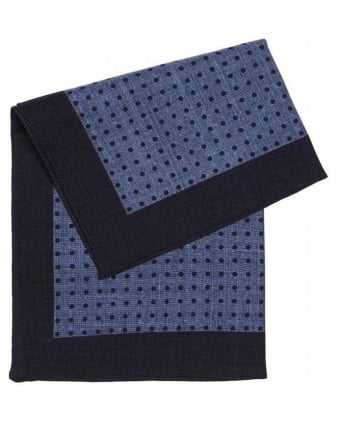 Classic Blue Polka Dot Wool Pocket Square