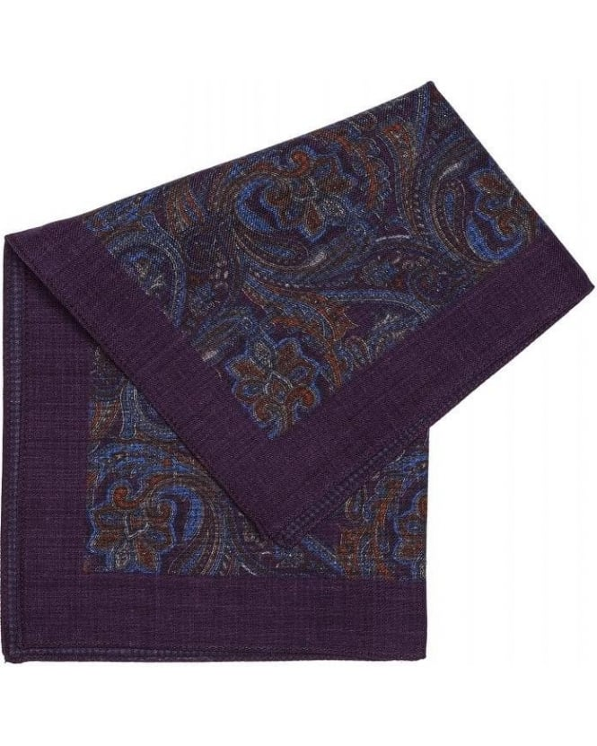Hugo Boss Black Classic Purple Patterned Paisley Wool Pocket Square