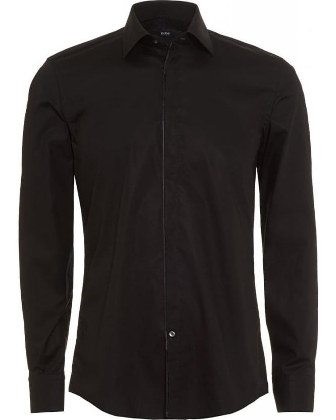 Hugo Boss Black Classic Slim Fit Black Jamis Shirt