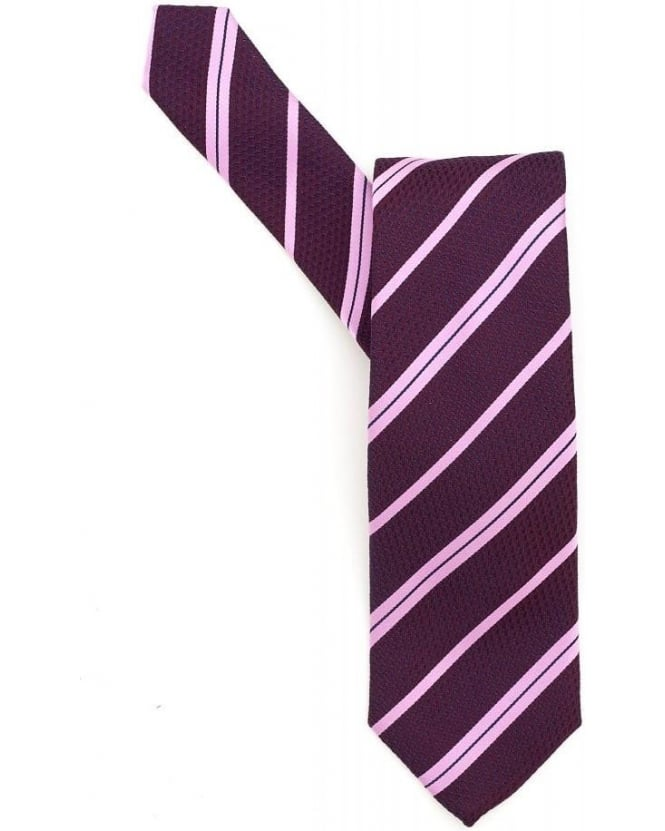 Hugo Boss Black Classic Tie Purple Diagonal Stripe Silk Tie