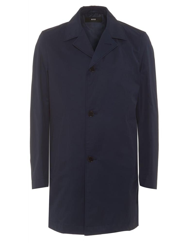 Dais8 Mens Coat Dark Blue Slim Fit Water-Repellent Coat