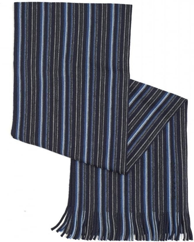 Hugo Boss Black Fadon Navy Knitted Stripe Wool Scarf