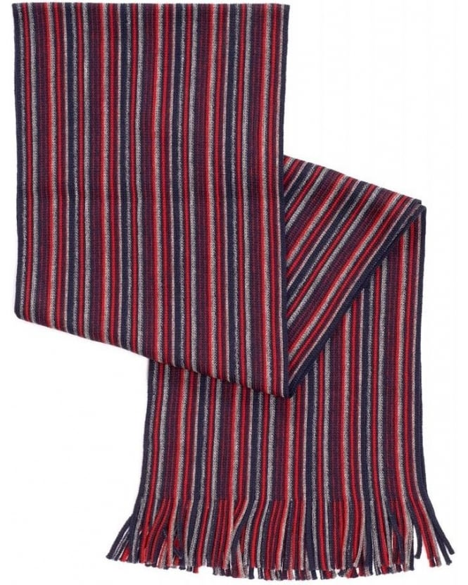 Hugo Boss Black Fadon Red Knitted Stripe Wool Scarf