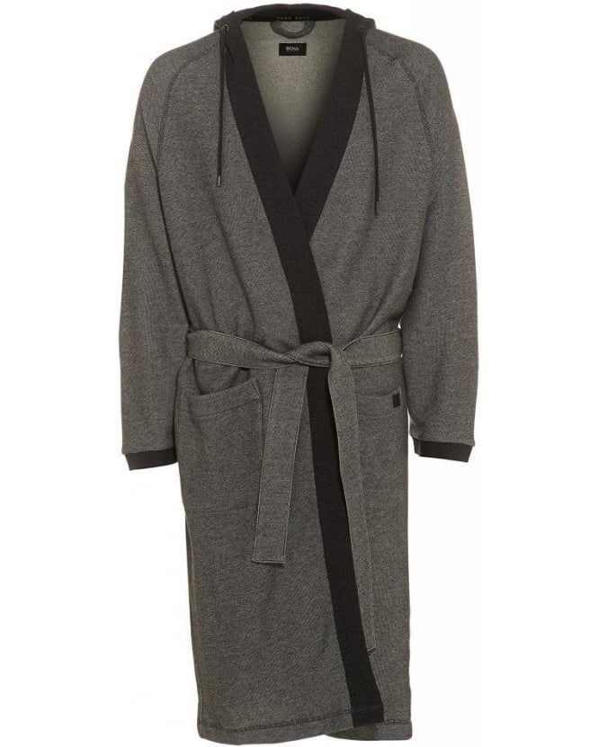 Hugo Boss Black Grey Anthracite Heritage Hooded Robe Dressing Gown