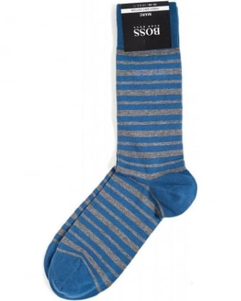 Marc Blue and Grey Striped Socks