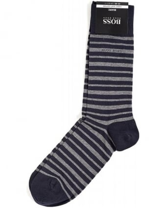 Marc Navy and Grey Striped Socks
