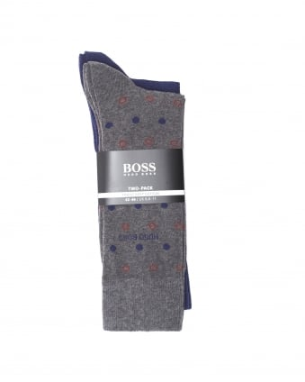 Mens 2P RS Dot CC Twin Pack Cotton Stretch Grey Socks