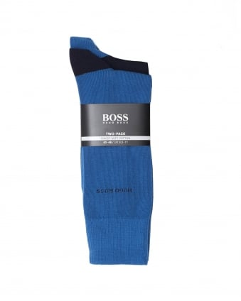 Mens 2P RS Heel&Toe CC Twin Pack Contrast Blue Navy Socks