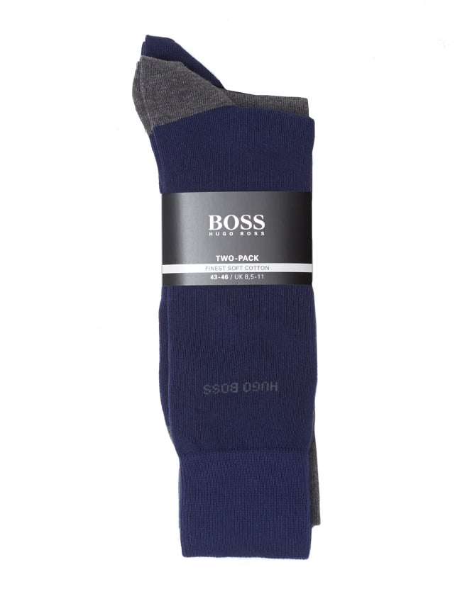 Hugo Boss Black Mens 2P RS Heel&Toe CC Twin Pack Contrast Purple Grey Socks