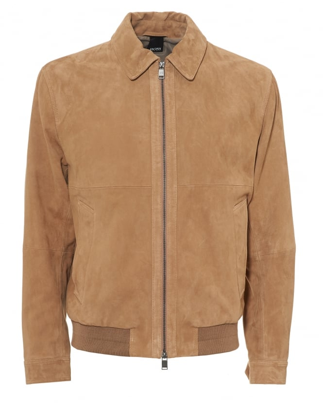 BOSS Business Mens Avelan Jacket, Aviator Style Goats Suede Beige Jacket