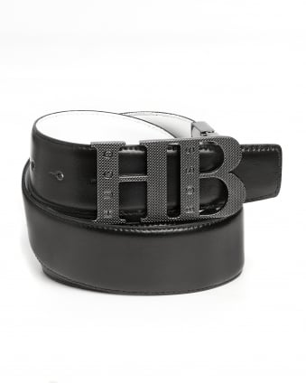 Mens Balwinno Black White Reversible HB Buckle Belt