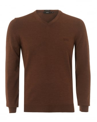 Mens Baram-L Jumper, V-Neck Cinnamon Red Sweater