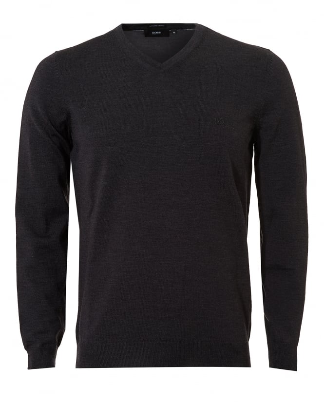 Hugo Boss Black Mens Baram-L Jumper, V-Neck Dark Grey Melange Sweater