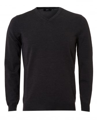 Mens Baram-L Jumper, V-Neck Dark Grey Melange Sweater