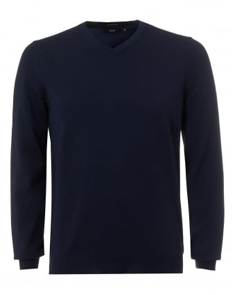 Mens Baram-L Jumper, V-Neck Navy Blue Sweater