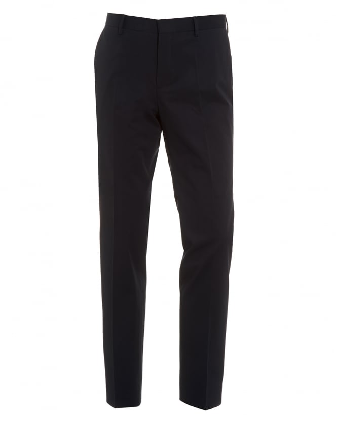 Hugo Boss Black Mens Barao Trousers, Navy Blue Slim Fit Faux Leather Piped Chinos