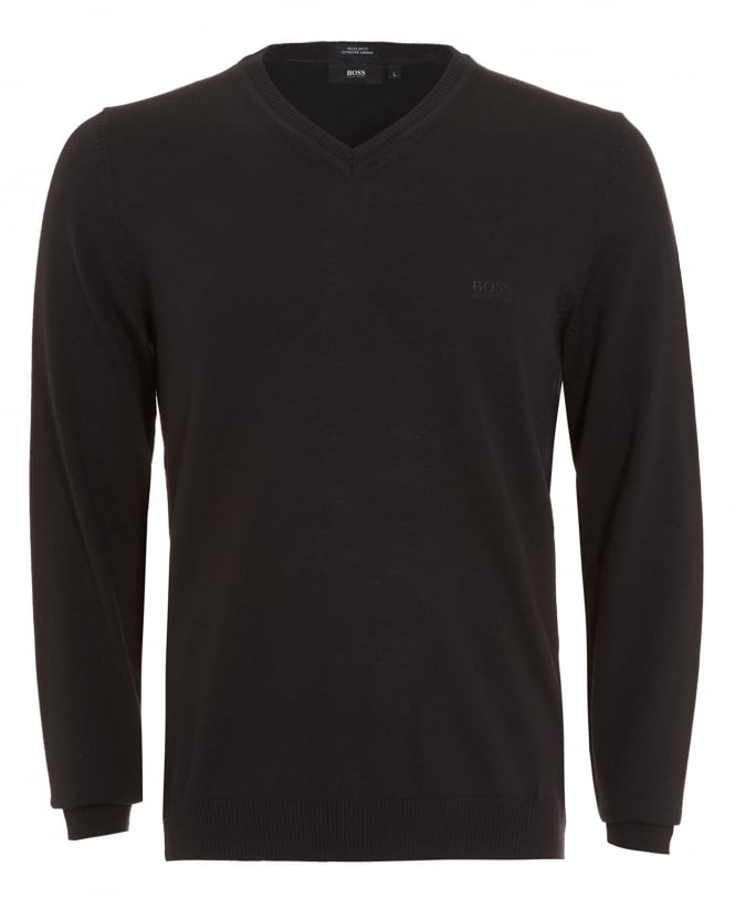 Hugo Boss Black Mens Batisse-B Jumper, Black V-Neck Sweater