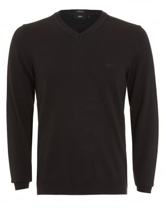 Mens Batisse-B Jumper, Black V-Neck Sweater