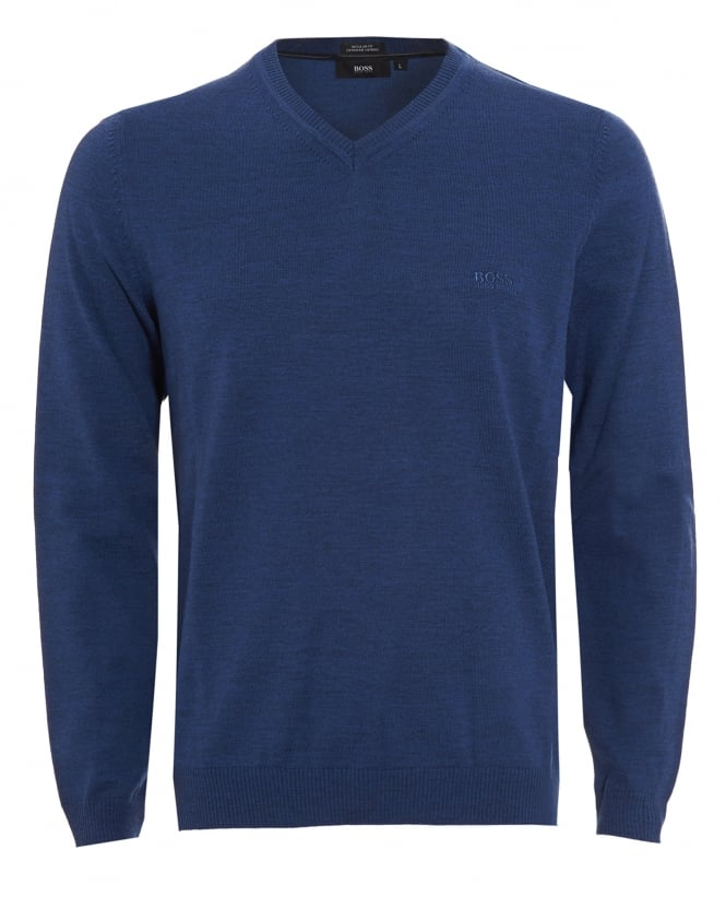 Hugo Boss Black Mens Batisse-B Jumper, Blue V-Neck Sweater