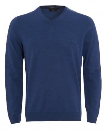 Mens Batisse-B Jumper, Blue V-Neck Sweater