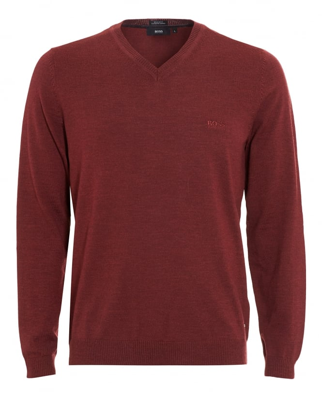 Hugo Boss Black Mens Batisse-B Jumper, Brick Red V-Neck Sweater