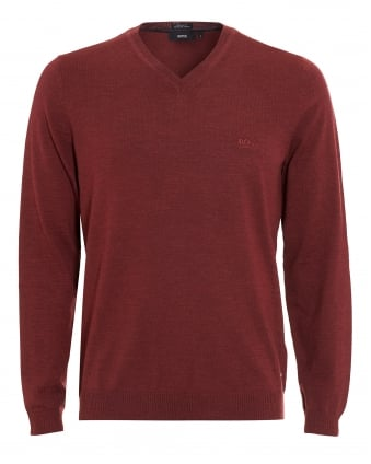 Mens Batisse-B Jumper, Brick Red V-Neck Sweater