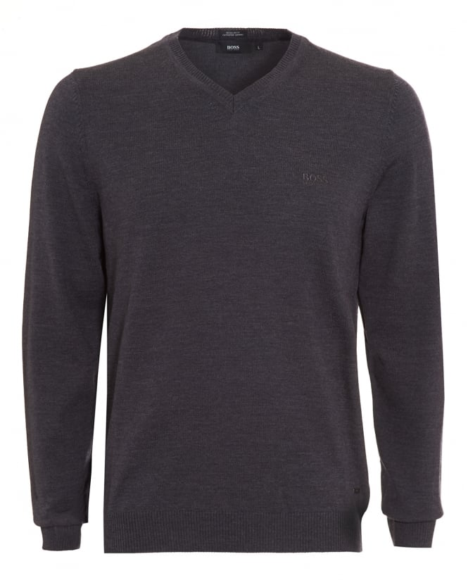 Hugo Boss Black Mens Batisse-B Jumper, Charcoal Grey V-Neck Sweater